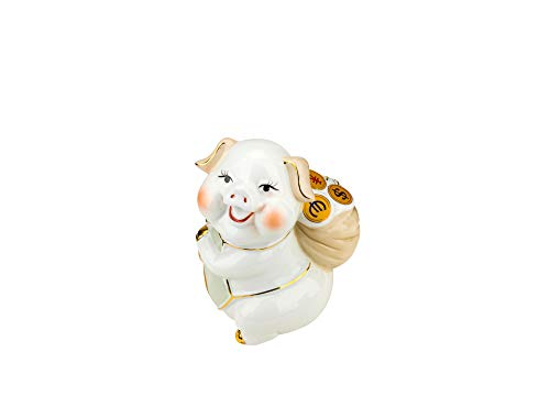 (Quality Import P104, 6''H Porcelain Pig with a Bag of Money, 2019 Chinese Zodiac Year of Swine, Feng Shui Enamel Statuette, Piglet Collectible Figurine)