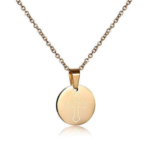(Vinjewelry Round Pendant Necklace for Women Girls Cross Charm Stainless Steel Plated Gold Anti-Allergy Material)