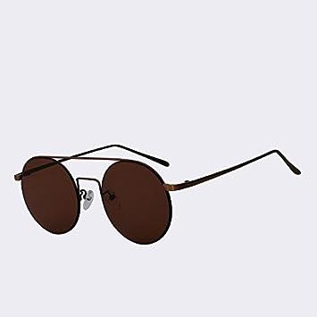 1fb33986d2 TIANLIANG04 Gafas Redondas Hombre Mujer Haz Doble en Metal Gafas de Sol  Vintage Gafas de Marca de diseñador para Lentes de Espejo Gafas UV400,W  Negro Negro: ...