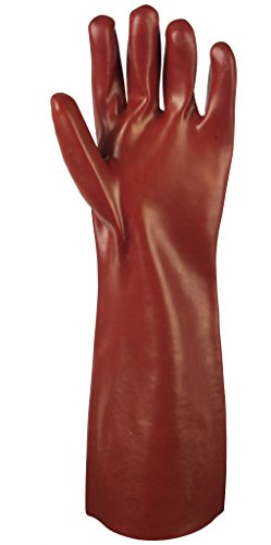 Waterproof Gauntlet Gloves Long Heavy Duty Rubber PVC Coated 17 Size 9 by Lazer Electrics - Coated Gauntlet