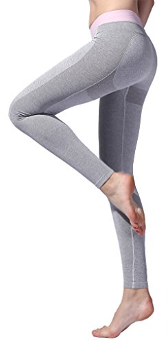 ex Leggings Yoga Pants Gym Tights Women Seamless Running Sports Fitness Light Grey ()