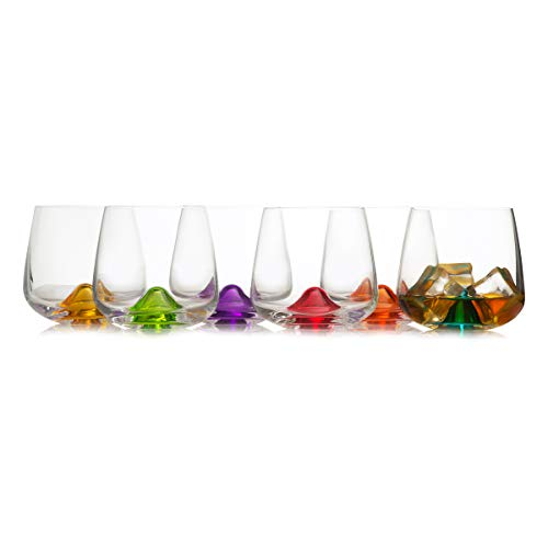 Multi Colored Cool Drinking Glasses Set of 6 /  Rainbow Colored, Creative, Vibrant / Bohemian Crystal Glass High Quality Drinkware /  10.4 Ounces / 310 -