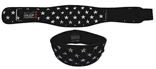 """Grip Power Pads Weightlifting Gym Belt Powerlifting for Men & Women 6 Inch Back Support Best for Olympic Gym Lifting (USA Flag, 37""""- 42"""" Around Navel Large)"""
