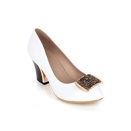 Amoonyfashion Da Donna Con Punta Tacco E Scarpe Col Tacco Alto, Scarpe Con Tacco Ruvido E Ornamenti In Metallo Bianco