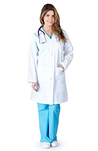 Natural Uniforms - Womens 41 Inch Lab Coat, White - Long Lab Coat Womens