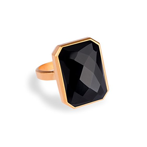 Ringly Luxe - Activity Tracker + Mobile Alerts + Guided Meditation Smart Ring, [Gold, Black Onyx] Size 7