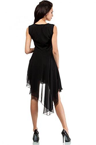MOE Chiffoneinsätze Abendkleid Chiffonkleid Kleid Schwarz asymmetrisches Chiffon RdRrUxq0