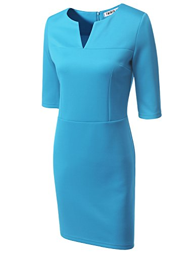 Doublju Women Simple Colorful 3/4 Sleeve Dress SKYBLUE,S (Fancy Dress 80s Style)