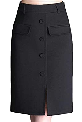 Pandapang Womens Mid Long High Rise Button Solid Split Office Lady Fall Bodycon Slim Skirts