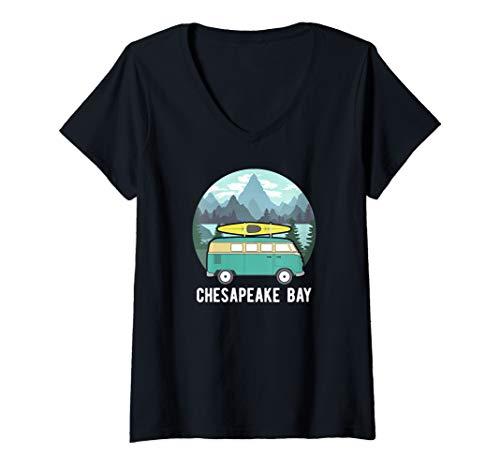 Womens Chesapeake Bay Kayak Van Virginia Kayaking V-Neck T-Shirt