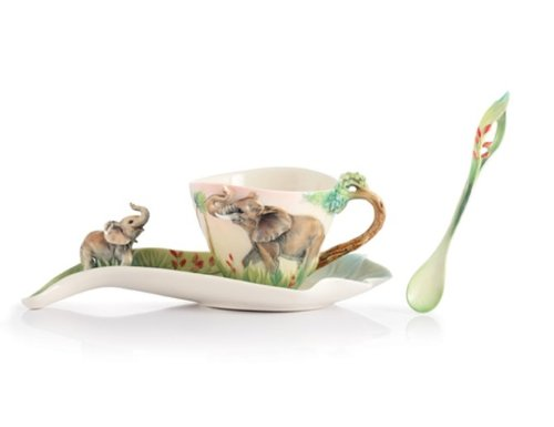 Franz Porcelain Family Fun Elephant Cup Saucer Spoon 2012