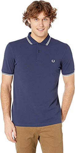 Fred Perry Men's Polo Shirt, Phantom/Snow White, Medium