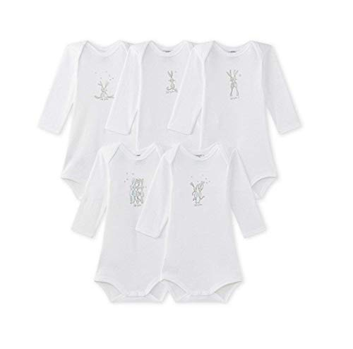 - Petit Bateau Set of 5 Bodysuits Long Sleeves Rabbit Motif 36 Months Unisex White
