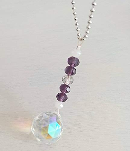 (Car Mirror Charm, AB Crystal Ball Prism Charm, Light Catcher, Car Charms, Jewelry, Amethyst Crystal Beads, Mirror Charm)