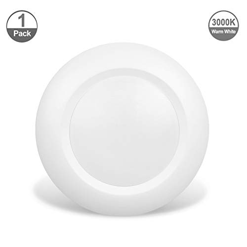 (JULLISON 4 Inch LED Low Profile Recessed & Surface Mount Disk Light, Round, 10W, 600 Lumens, 3000K Warm White, CRI80, DOB Design, Dimmable, Energy Star, cETLus Listed, 1 Pack(White))