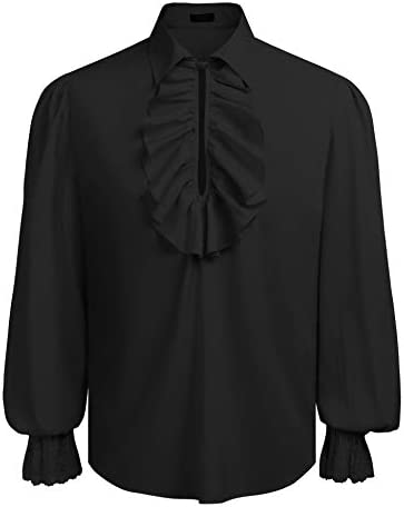 COOFANDY Mens Ruffled Gothic Shirts Victorian Steampunk Renaissance Costume Shirt Medieval Pirate Cosplay Tops