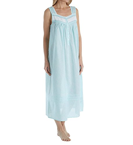 Eileen West Long Cotton Lawn Sleeveless Nightgown In Aqua Paisley (White/Aqua Paisley, Large)