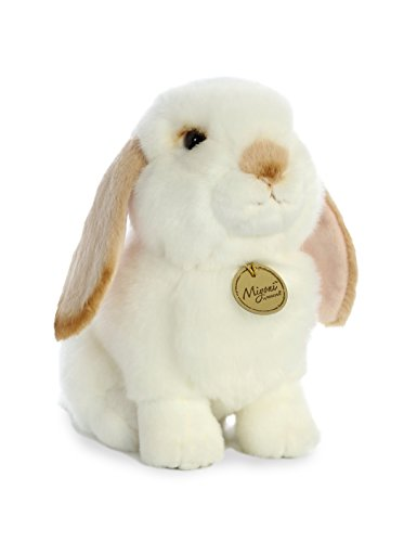Aurora World Miyoni White Plush Lop Eared Rabbit with Tan Ears, Large