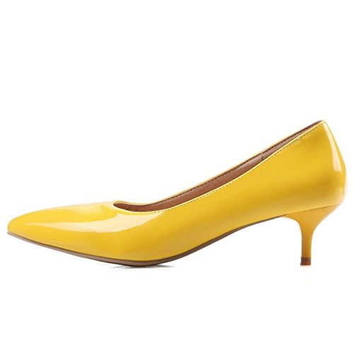 COOLCEPT Women Simple Basic Office Court Shoes Slip on Kitten Heel Pumps Extra Sizes Yellow 191KB