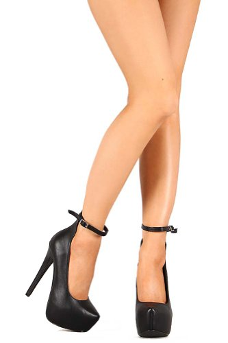 Breckelles Marisa-35 Ankle Strap Almond Toe Platform Stiletto Pump Black KIH1csV