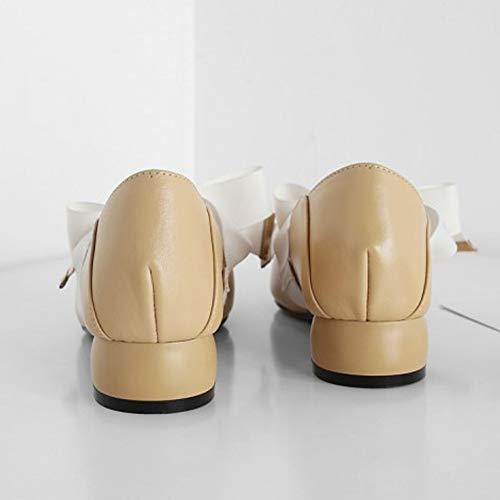 Retro Femmes Mouth De Chaussures Jane Head Travail Yellow Compensées Plnxdm School Shallow Bow Respirant Danse Mary dxt0XStwq