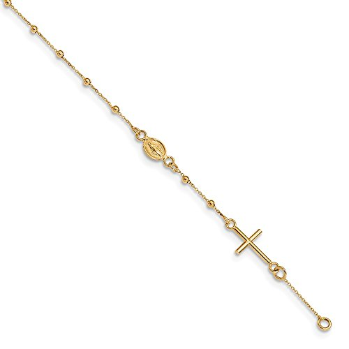 14K Yellow Gold 6.5in Cross Rosary Bracelet ~ length: 6.5 inches ~ from Roy Rose Jewelry ()