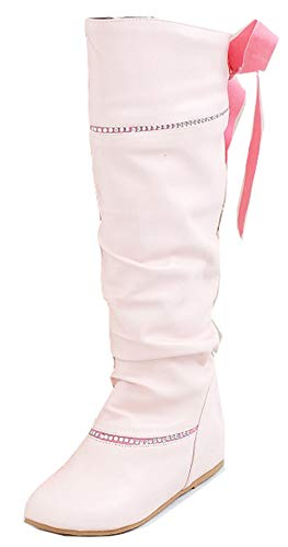 Bonbon Bottes Tige Haute Aisun Rose Genou Femme Mignon Strass Ruban HOO8qz
