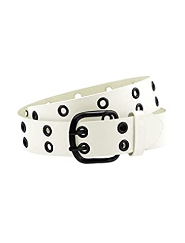uxcell Men Double Prong Adjustable Eyelets Design PU Belt White - Eyelet Belt