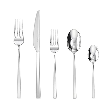 Sambonet Linea Q 20-Pieces Flatware Set, 18/10 Stainless Steel, Place