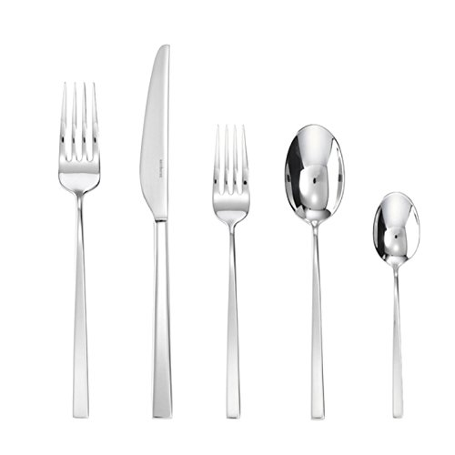 Amazon.com | Sambonet Linea Q 20-Pieces Flatware Set, 18/10 Stainless Steel, Place Setting for 4 guests, Silverware Set, shiny tableware set, ...