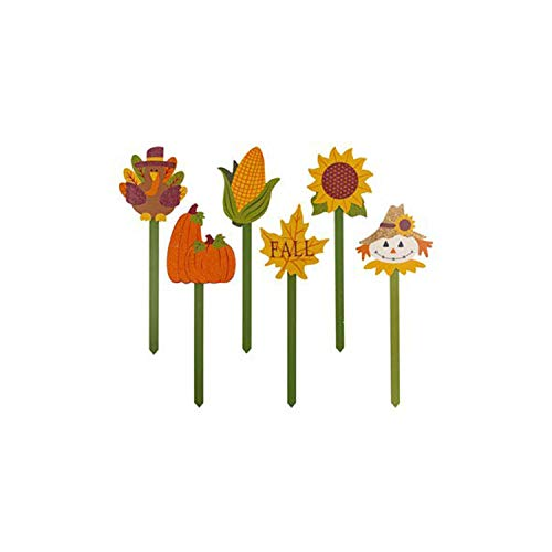 Thanksgiving Yard Stakes (J&J's ToyScape Fall Harvest Garden Stake Decor 19-Inch (Pack of 6 Assorted Icons) | Yard Planter Stake Icons, Decorative Garden Stake for Yard Art, Fall Decor, Autumn, Thanksgiving)