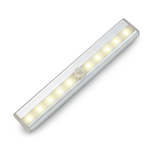 LNGOOR LED Motion Sensor Light Bulb - Closet Lights LED Night Light Stick Up Cordless for Cabinet Kitchen Wardrobe Stairs Step (Warm White)