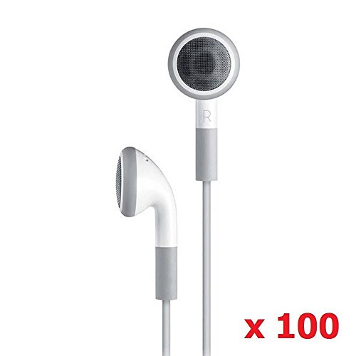 SeattleTech Wholesale Pack of 100 Simple White Earphone Headphone Headset for iPhone 5 5s 4 4s 3G 3Gs iPod MP3 MP4