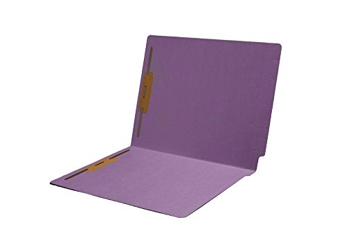 14pt Folders, Assorted Colors, Full Cut 2-Ply END TAB, Letter Size, Fastener Pos #1 & #3 (Box of 50) (Lavender) Cut Two Ply End Tab