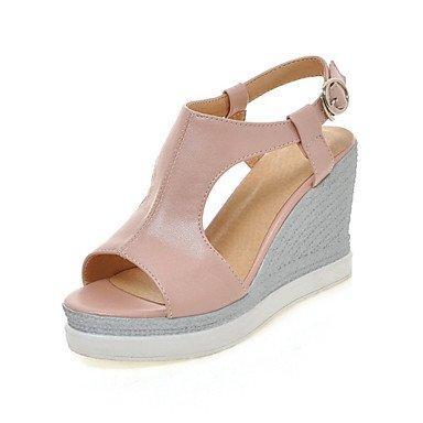 LvYuan Mujer-Tacón Cuña-Otro Zapatos del club Innovador-Sandalias-Boda Informal Vestido-Materiales Personalizados Semicuero-Azul Rosa Blanco Blue