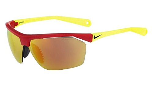 Nike Grey with Mild Orange Flash Lens Tailwind12 R Sunglasses, Gym Red/Volt by NIKE