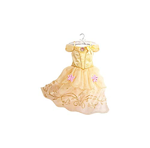 Girl Costume Cinderella Snow White Cosplay Princess Rapunzel Aurora Belle,Yellow,3T]()