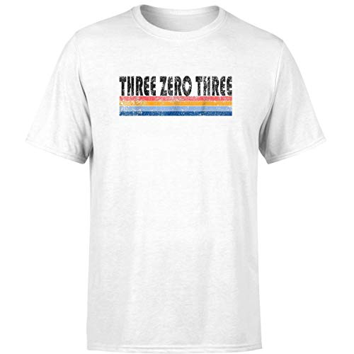 Trendy 80s Style Denver 303 Area Code T Shirt White / 2XL -