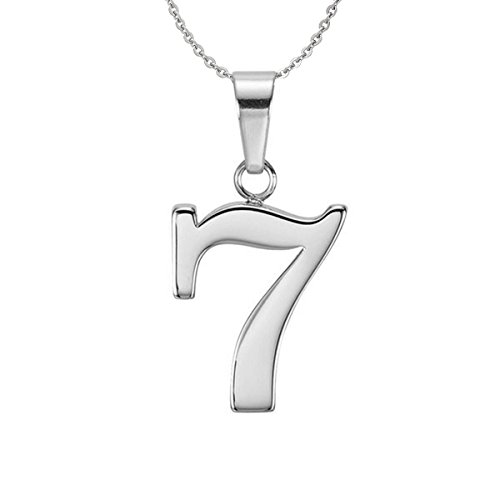 """Ouslier 925 Sterling Silver Arabic Number Charm Necklace Pendant Jewelry 18"""" Chain (Number 7)"""