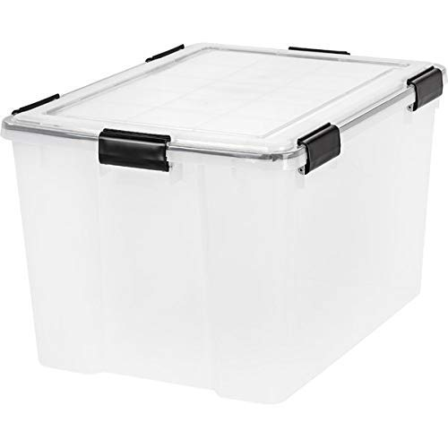 Basket Bins Storage Tote with 4 Latches - Weathertight Plastic Storage Tote - Clear