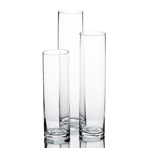 (Richland Sloan Cylinder Petite Vase Set of 3 Home Wedding Event Floral Centerpieces Glass)