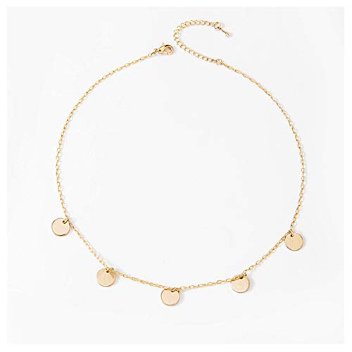 Necklace Rose Small Carved - Feximzl 14K Gold Plated Rose Flower Coin Necklace for Women Dainty Handmade Fill Carved Pendant Chain Minimalist Jewelry Mothers Day Jewelry Gift (Round Sequins)