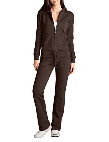 NE PEOPLE Womens Casual Basic Terry Zip Up Hoodie Sweatsuit Tracksuit Set S-3XL Brown