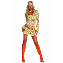 Womens Groovy Chick-3 Pc. Costume Includes Dress Belt And Head Piece