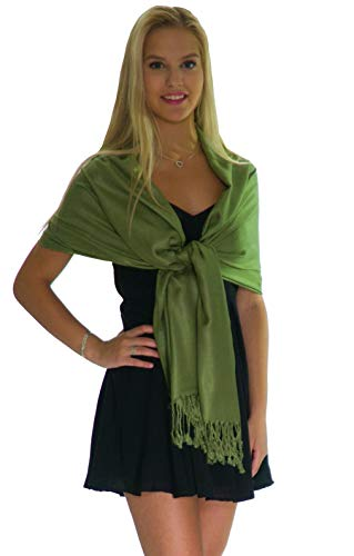 Pashmina Shawls and Wraps - Large Scarfs for Women - Party Bridal Long Fashion Shawl Wrap with Fringe Petal Rose (Olivine) (Shawl With Fringe)