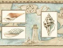 Wallpaper Border Nautical Map Sea Shells & Lighthouses Peach, Blue on Tan