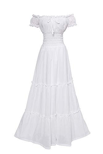 ROLECOS Womens Renaissance Boho Chemise Tiered Dress Pirate Peasant Wench Dress White -