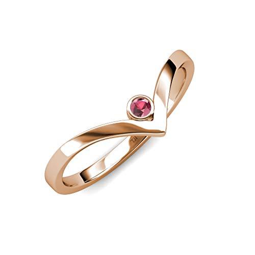 TriJewels Round Rhodolite Garnet Womens Solitaire Bezel Set Chevron Promise Ring 0.12 ct 14K Rose Gold.size 7.75 ()