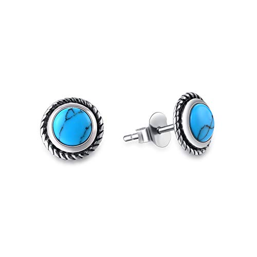(Agvana Sterling Silver Round Created Turquoise Small Stud Earrings Elegant Jewelry Gifts for Mom Women Girls)