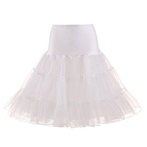 (Womens Tutu Skirt Teen Girls's Vintage Short Tulle Petticoat Skirts Tutu Ballet Bubble Underskirt Pleated Dancing Skirt White)